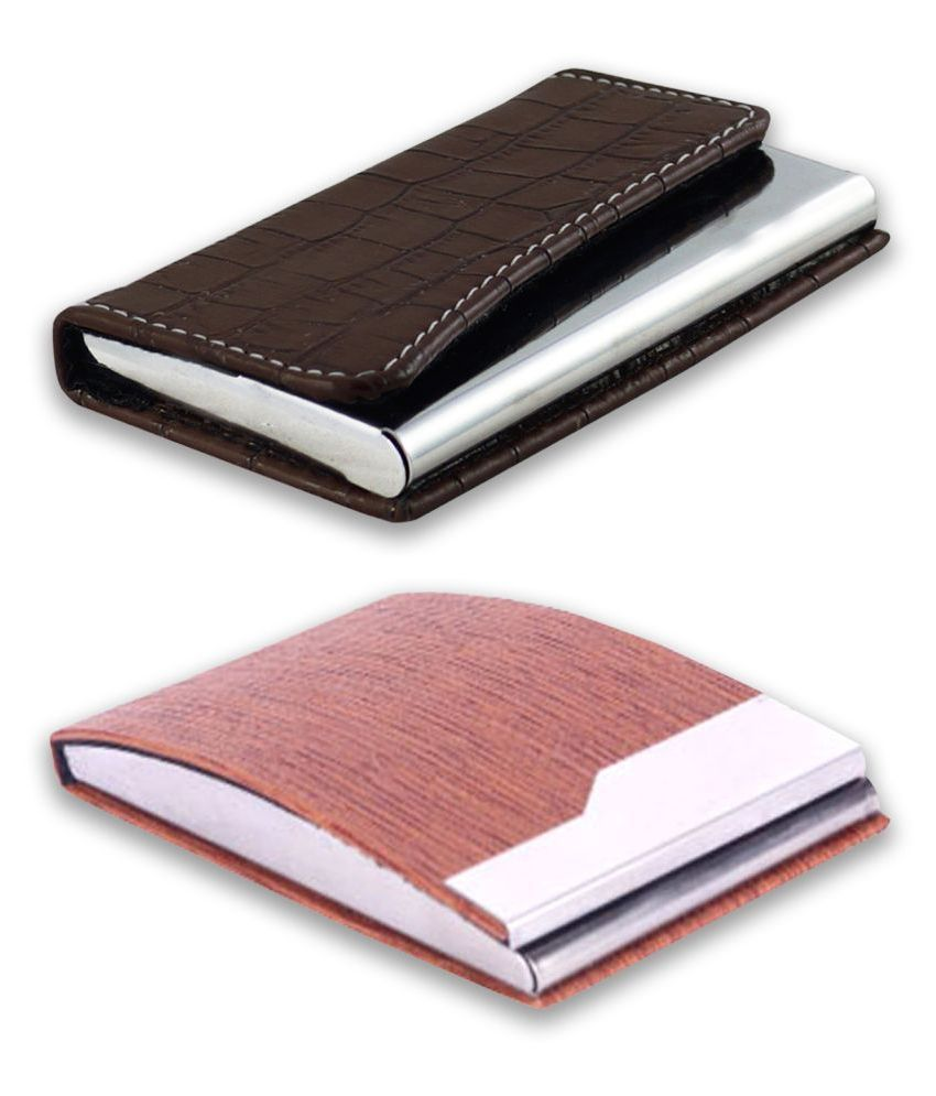 auteur A16-47  Multicolor Artificial Leather Professional Looking Visiting Card Holders for Men and Women Set of 2 (upto 10 Cards Capacity)