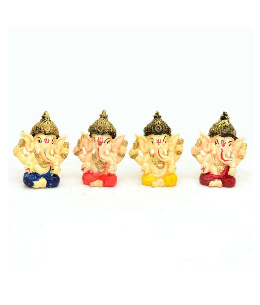 MUKKA ENTERPRISES LITTIL GANESHA SET OF 4 PICES 6 X 3 CM DECORATIVE ANIWHERE . LITTIL GANESHA Porcelain Buddha Idol 6 x 3 cms Pack of 4