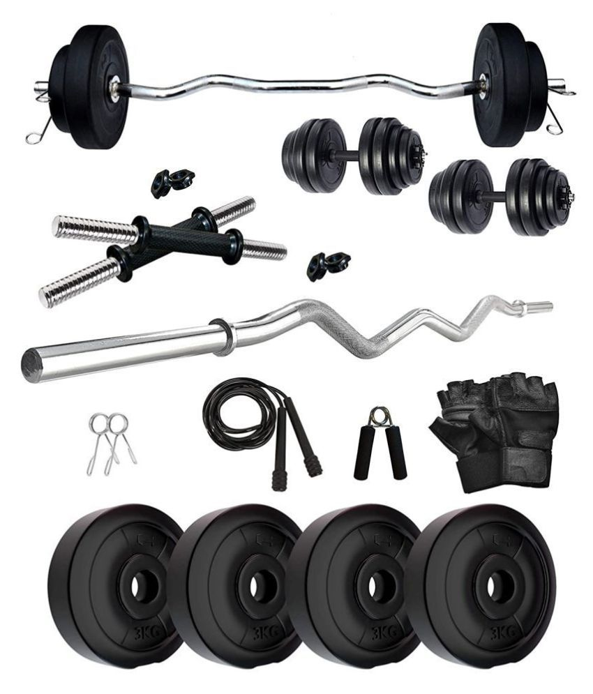 PORT Home Gym PVC 20 kg of PVC weight  3 kg x 4  amp; 2 kg x 4  1 x 5 feet plain rod + 1 x 3 feet curl rod + 2 x 14 inch dumbbell rods 4 locks and cli