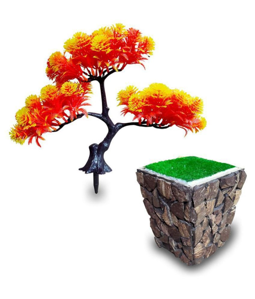 fns store Artificial Passion Tree Bonsai With Pot Multicolour Artificial Tree Plastic - Pack of 2