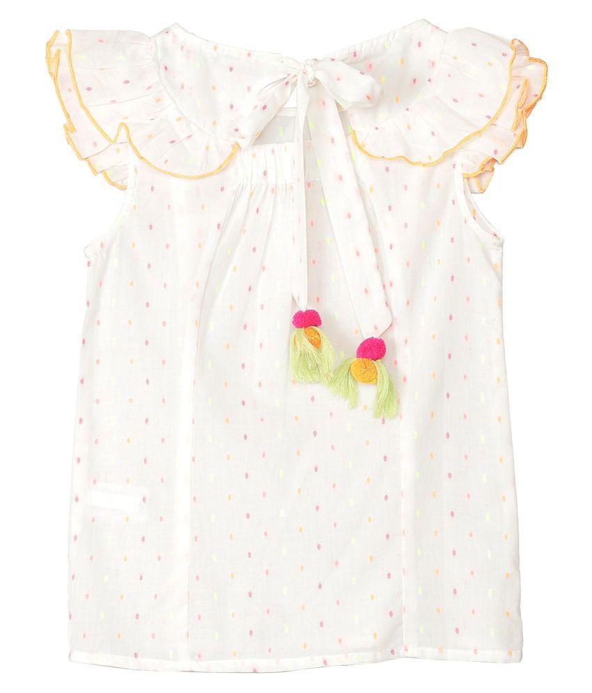 2Bme Infant Girl's Cotton Printed White Dresses