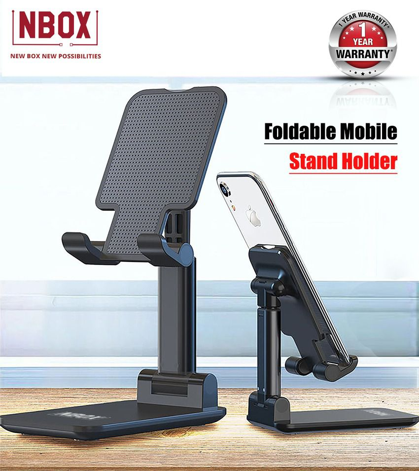 NBOX F8 Flexi,Sturdy Foldable Mobile Stand Phone Holder for Desk, Black