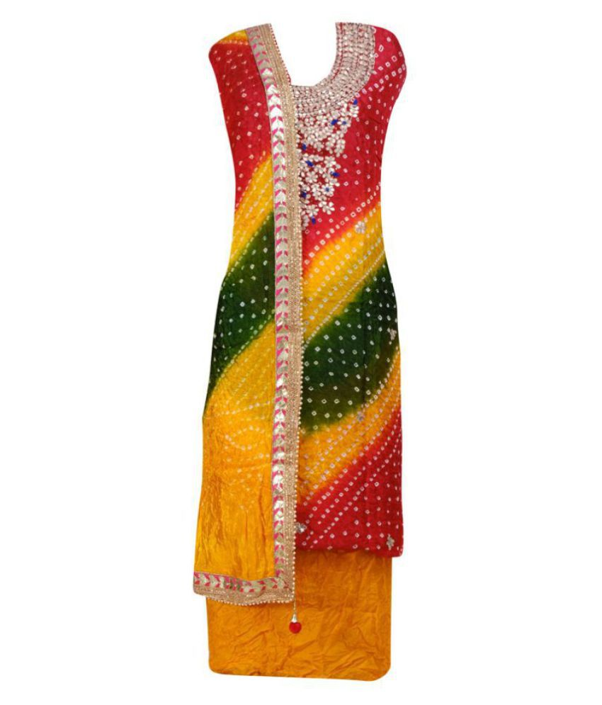 Fabricjaipur Yellow,Red,Green Art Silk Unstitched Dress Material