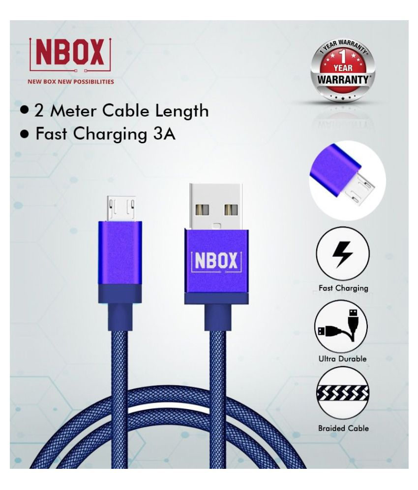 NBOX Fast Charging Fishnet Braided Micro USB Data Cable - 2 Meters(Blue)