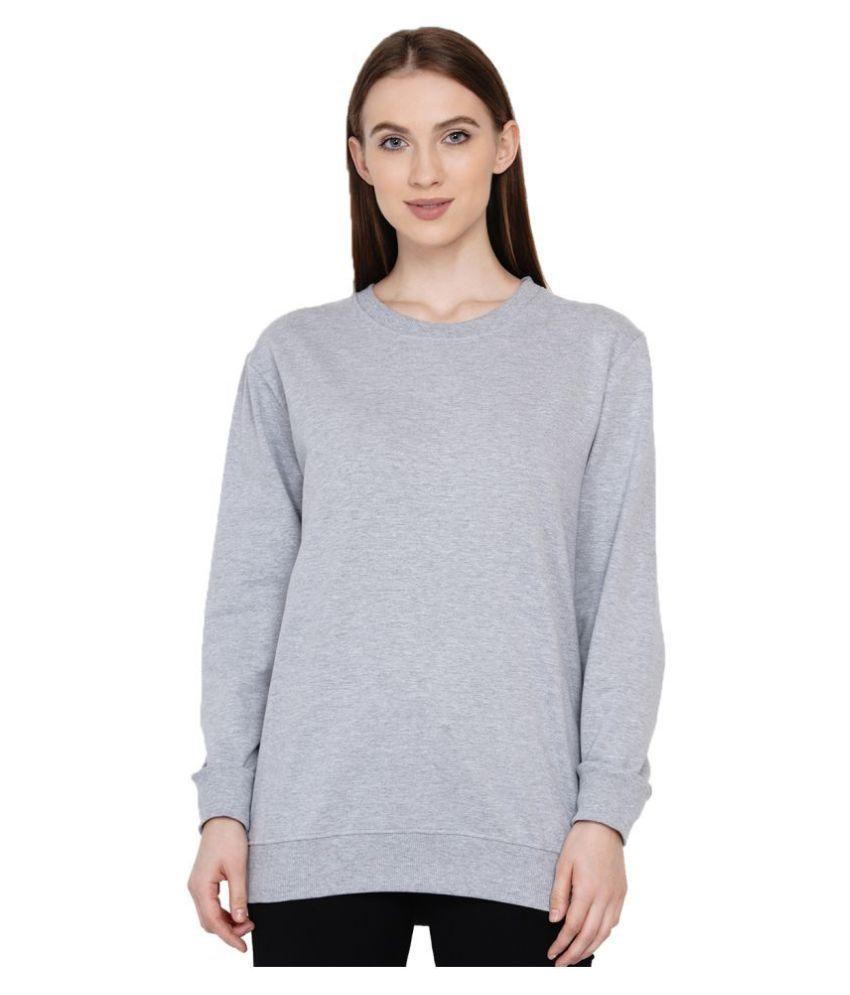 Knits and Weave Cotton - Fleece Grey Non Hooded Sweatshirt