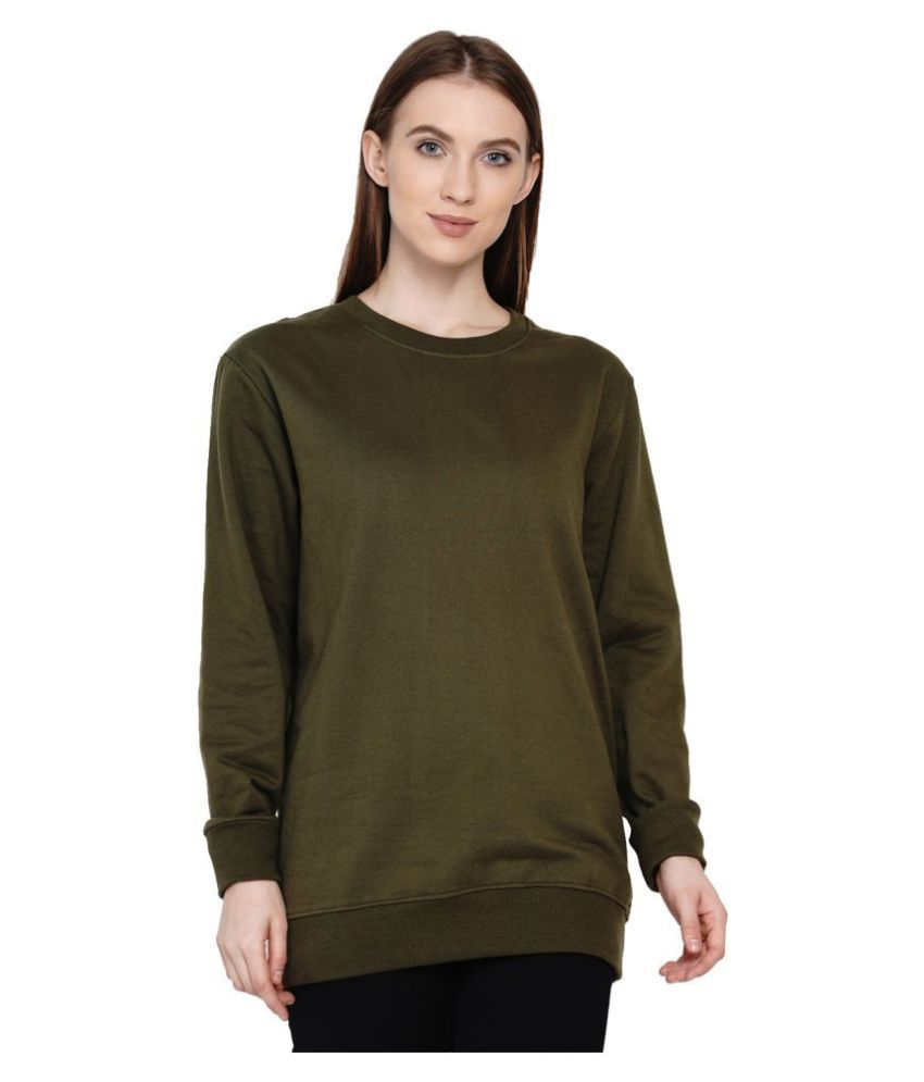 Knits and Weave Cotton - Fleece Green Non Hooded Sweatshirt