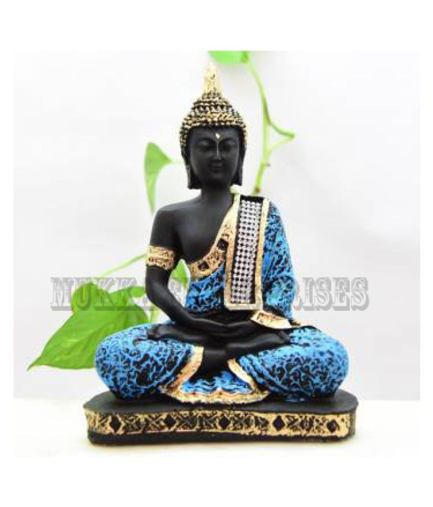 MUKKA ENTERPRISES DECORATIVE SHOWPIECE SAMADHI BUDDHA 24 CM. SET OF 1. POLYRESIN SMADHI BUDDHA Resin Buddha Idol 24 x 16 cms Pack of 1