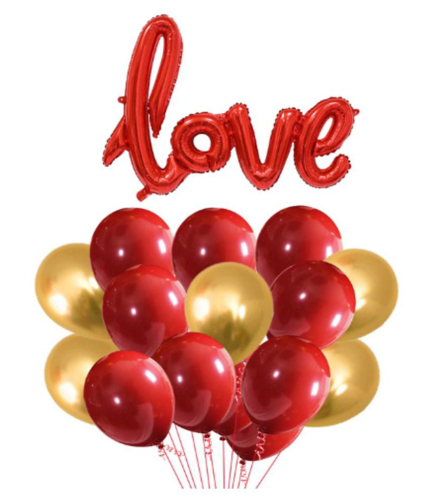 Blooms  Anniversary Love 31 pcs Combo Love shape foil Balloon + Red and Golden Metallic Balloons