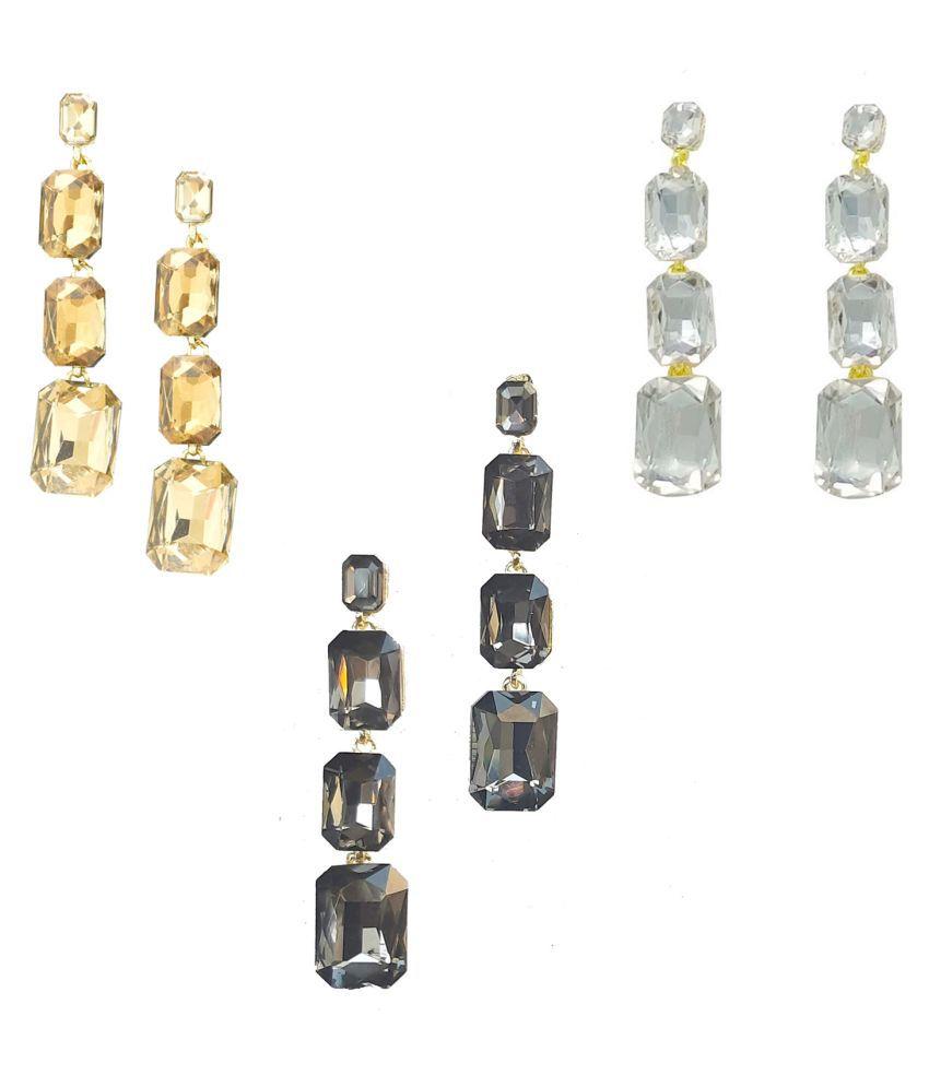 Jaishree Jewels Glass Drop Earrings combo set for Women & Girls