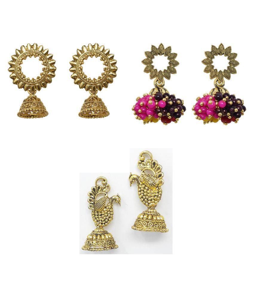 Jaishree jewels Partywear Bollywood Style Hanging Jhumki earring combo set of 3