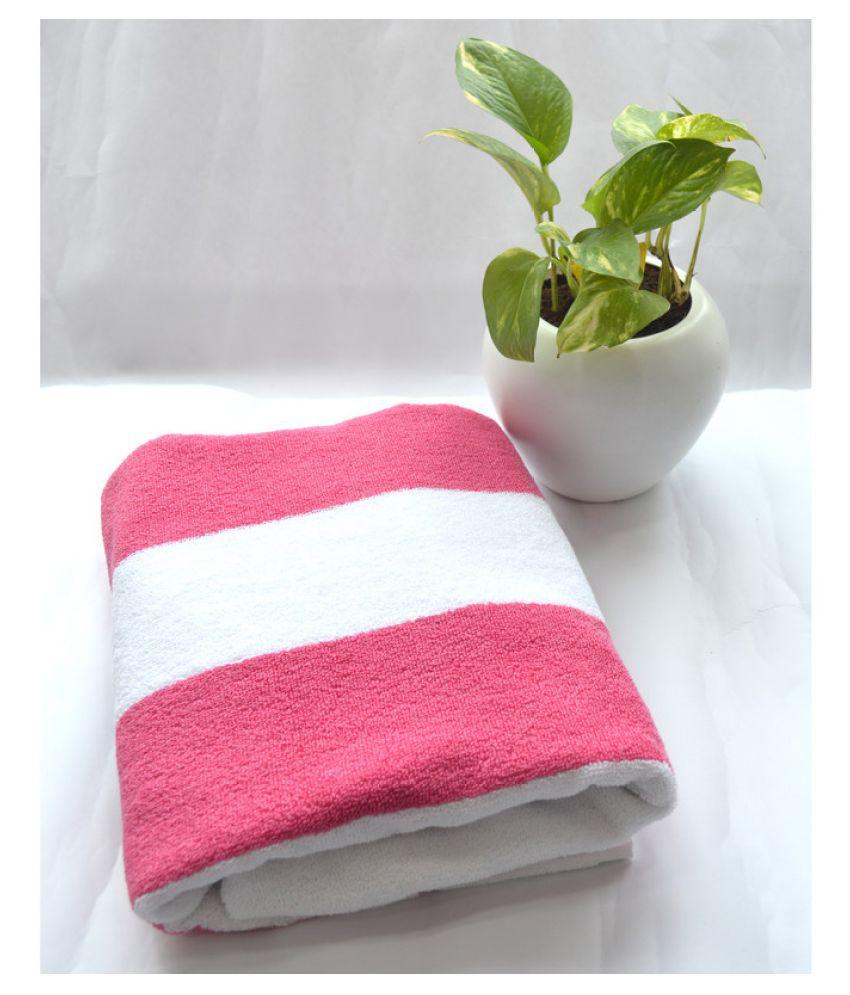 Tranquil Square Single Cotton Bath Towel Pink