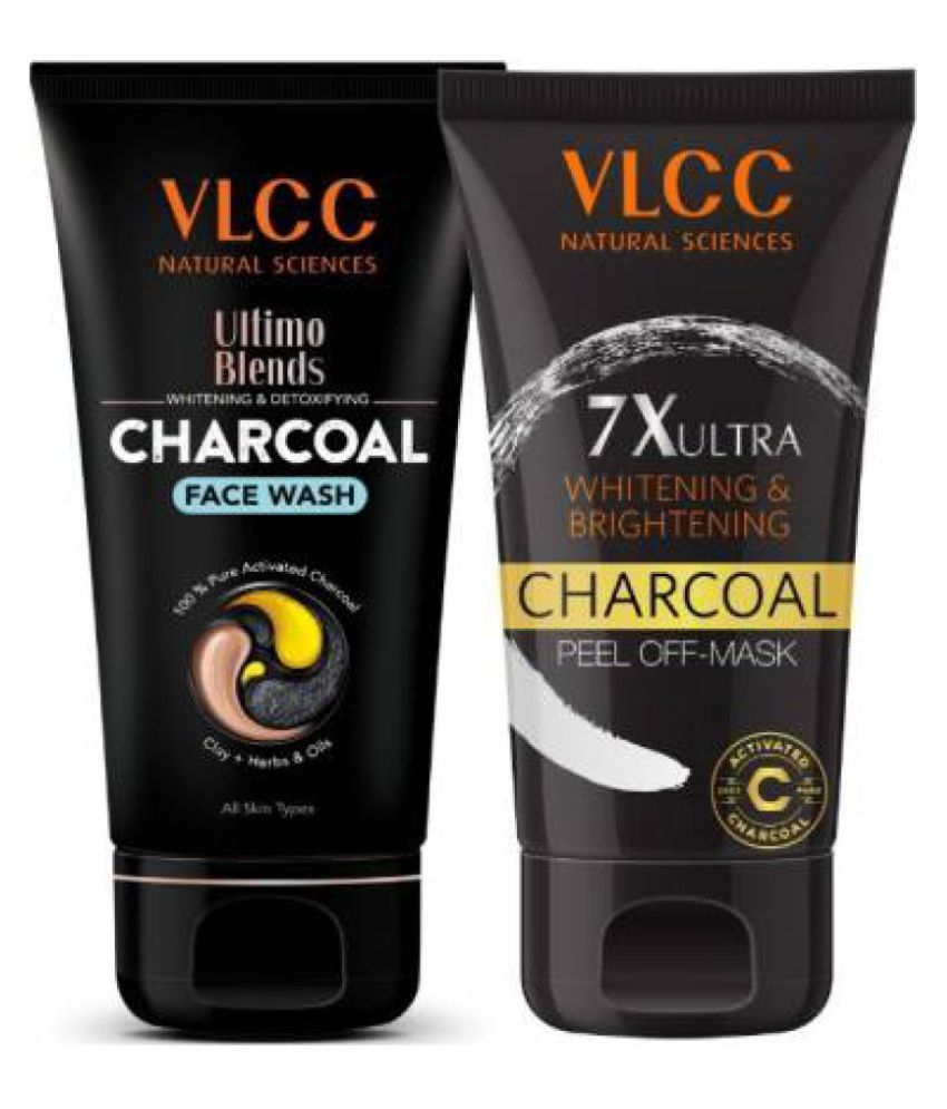VLCC Ultimo Blends Charcoal Face Wash & 7X Ultra Charcoal Peel Off Mask For Whitening & Brightening - 100ml each (Pack of 2)
