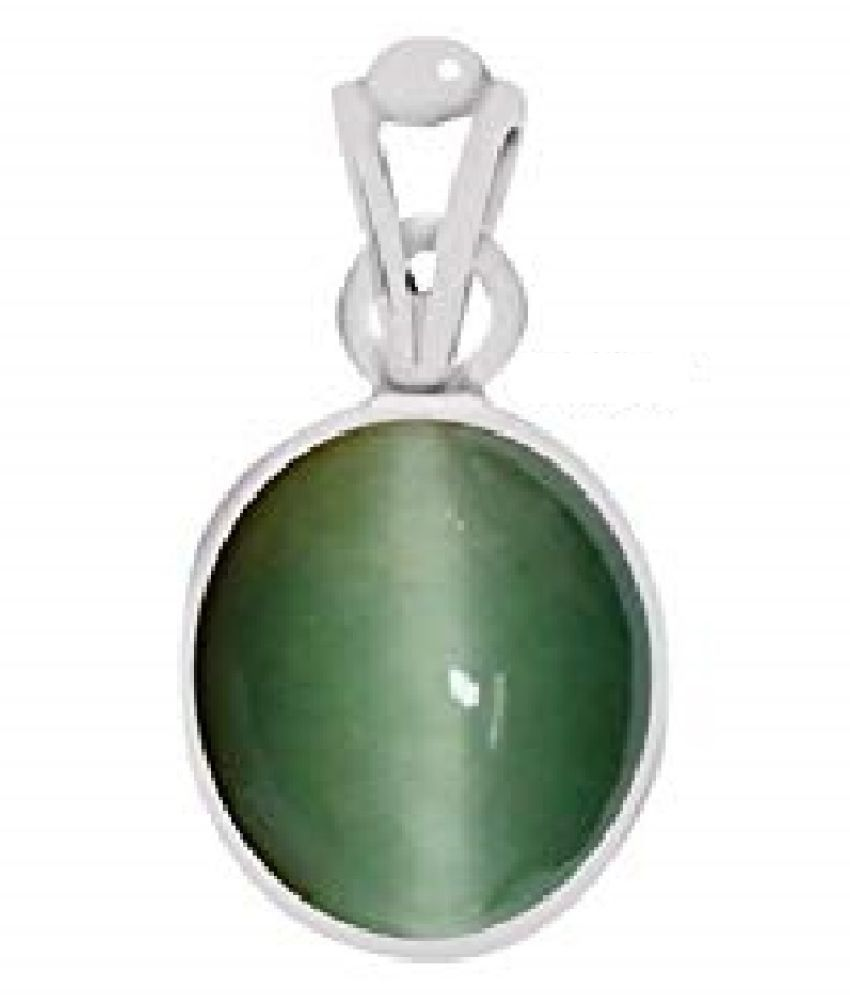 5.25 ratti Cats eye Stone Pendant Natural Cats Eye stone Certified & Astrological purpose for men & women Silver Cat's Eye Stone Pendant by RATAN BAZAAR