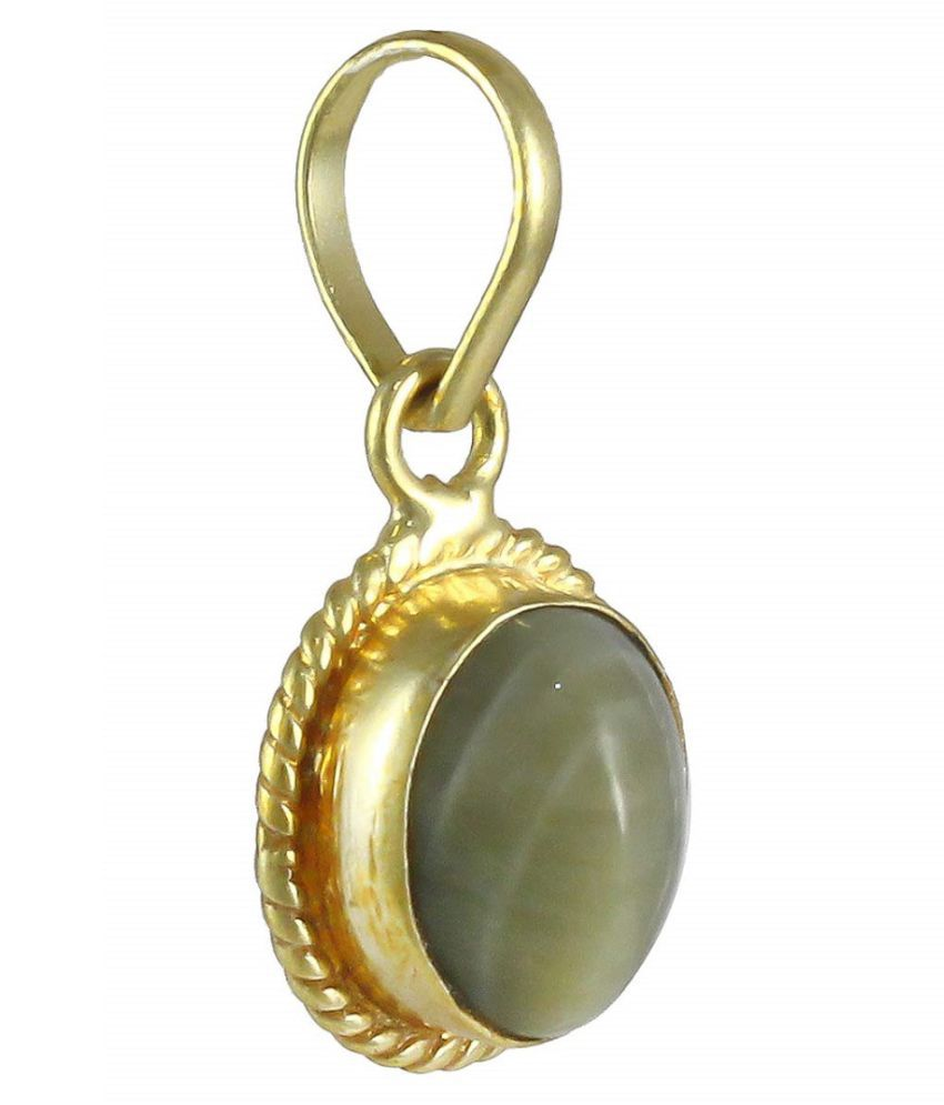 5.5 ratti Cats eye Stone Pendant Natural Cats Eye stone Certified & Astrological purpose for men & women Gold Plated Cat's Eye Stone Pendant by RATAN BAZAAR