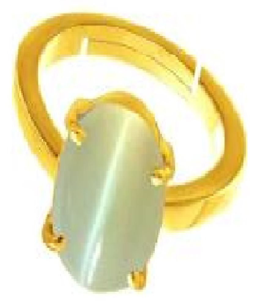 Gold Plated Cat's Eye Ring 8.5 ratti by Ratan Bazaar