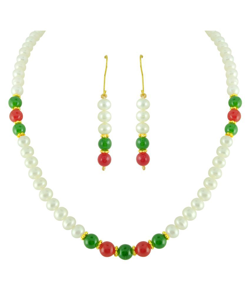 KNK JEWELLERY Alloy Multi Color Choker Designer Gold Plated Necklaces Set