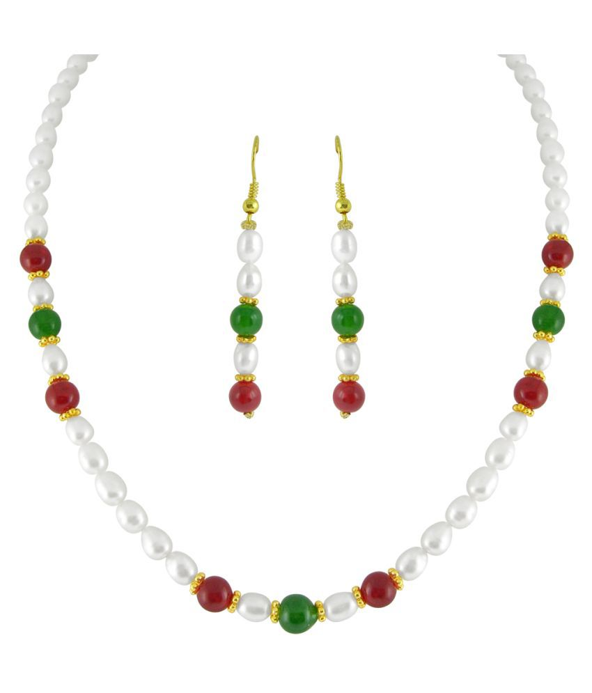 Stylish & Trendy Red Green Freshwater Pearl Set By KNK Jewellery