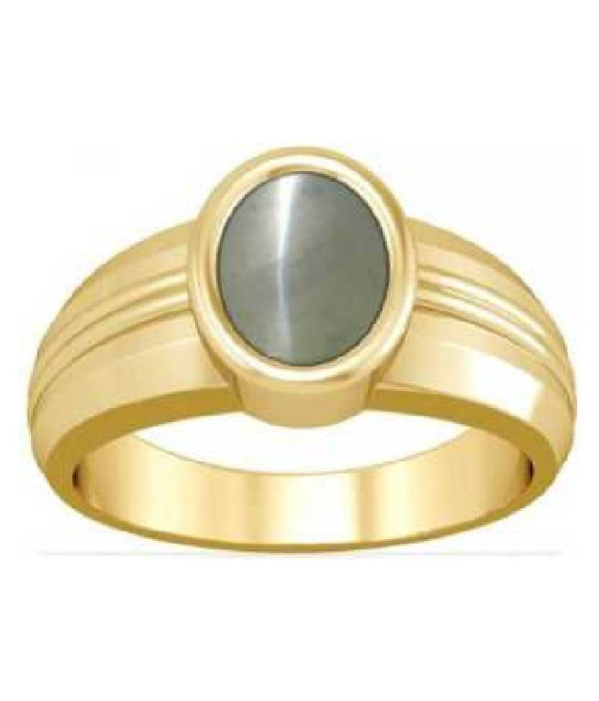 9.5 ratti Stone  Natural Cat's Eye  Gold Plated Ring by  Ratan Bazaar\n