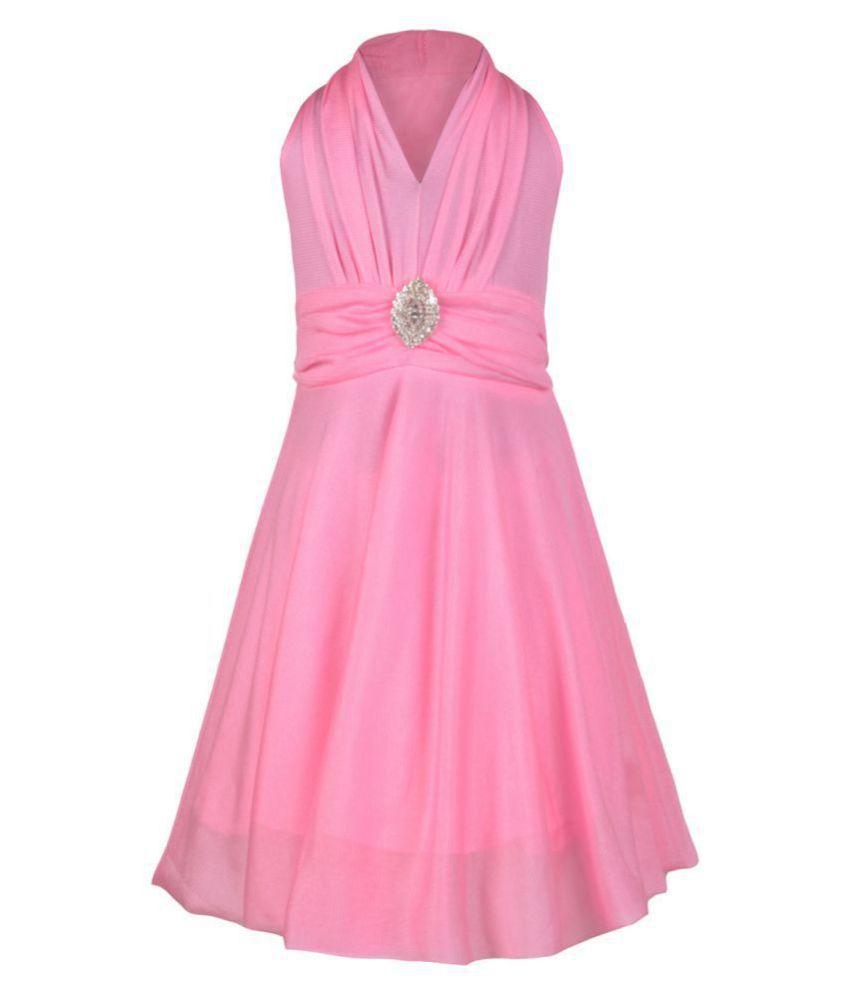 Aarika Girls' Pink Self Design Party Wear Frock
