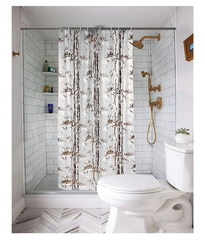 Fabfurn Single Door Semi-Transparent Ring Rod PVC AC Curtains Brown