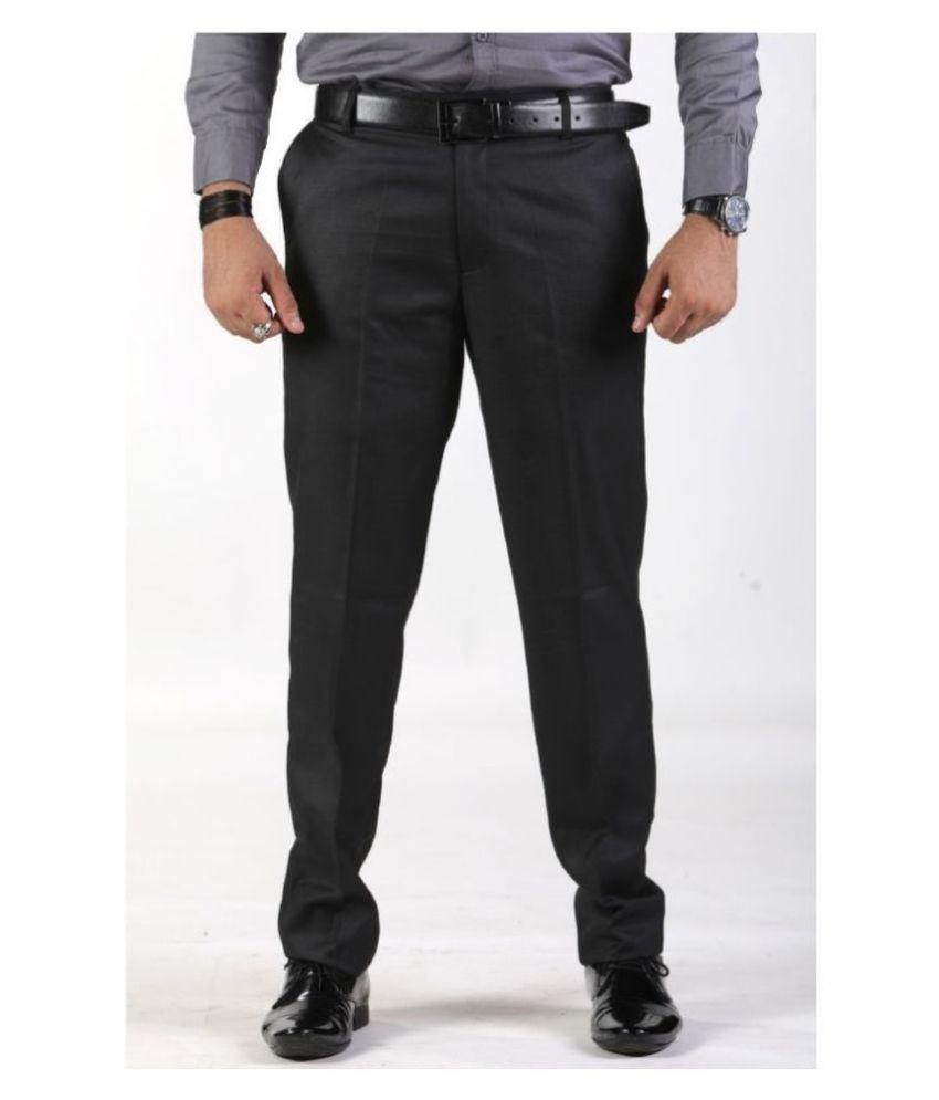 SAM & JACK Black Regular -Fit Flat Trousers