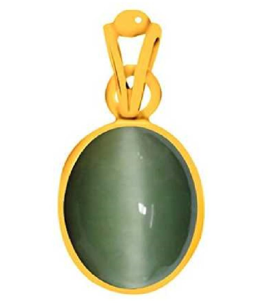 Cats eye 6 ratti  Stone Pendant Natural Cats Eye stone Certified & Astrological purpose for men & women    Gold Plated Cat's Eye Stone Pendant by RATAN BAZAAR
