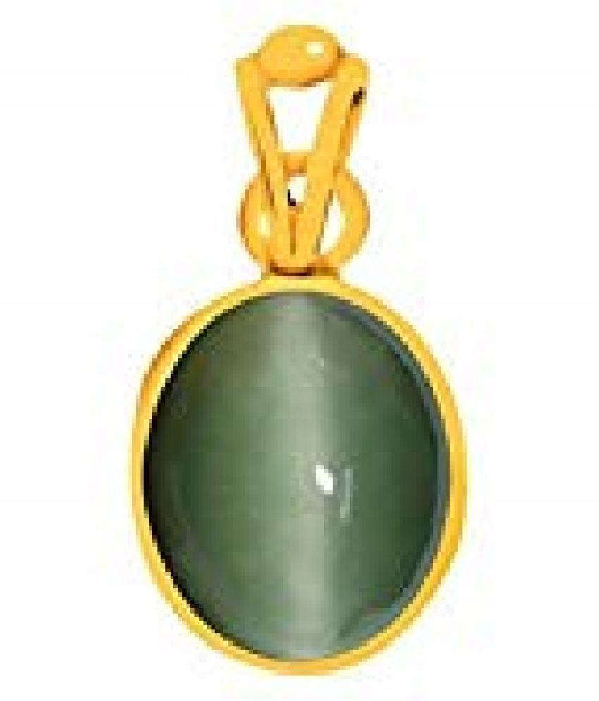 RATAN BAZAAR - 5.5 carat Cats eye Stone Pendant Natural Cats Eye stone Certified & Astrological purpose for men & women Gold-plated Cat's Eye Stone Pendant