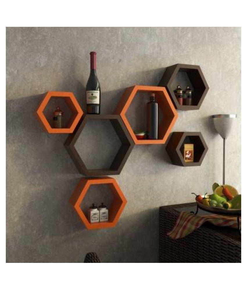Sun Wood Art Hexagon Floating Wall Shelves for Living Room and Home Decor Wooden Wall Shelf  Number of Shelves   6, Orange, Brown