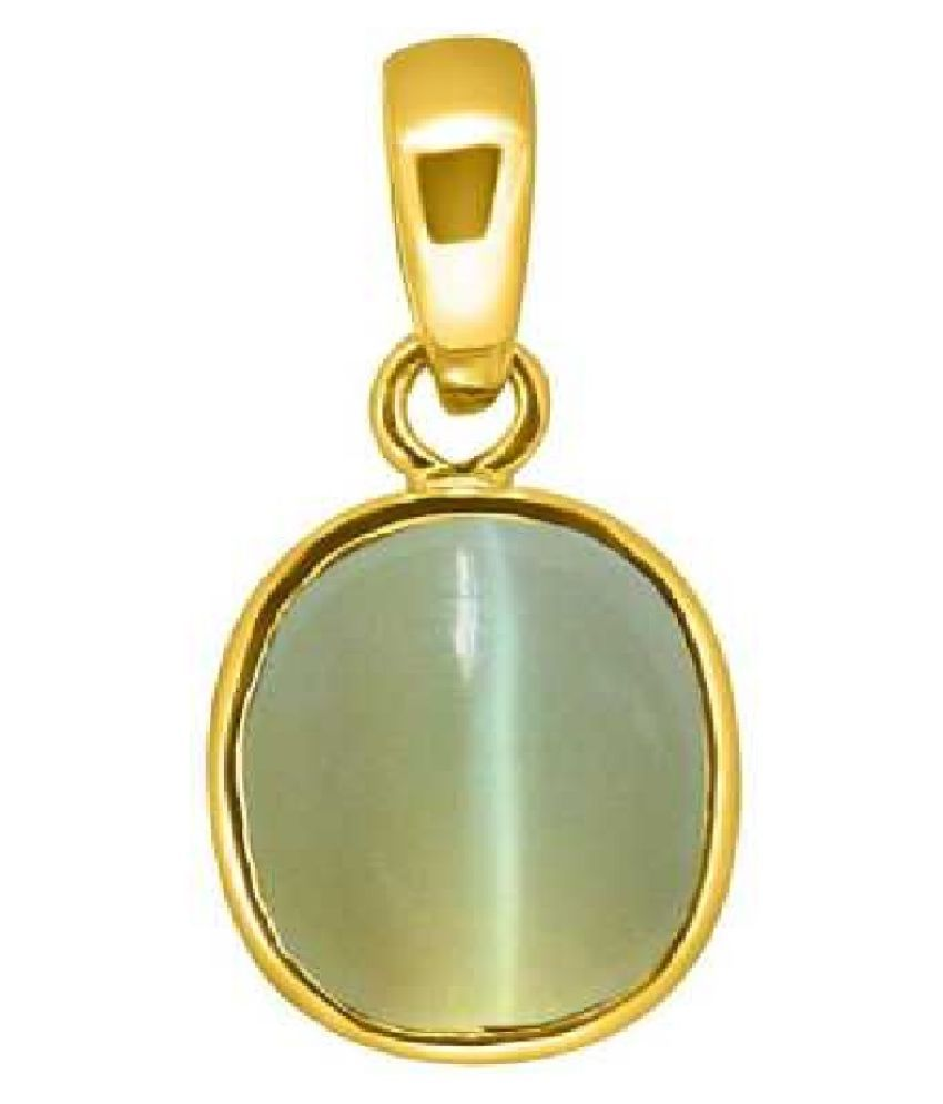 6.5 Ratti Natural Rashi Ratan CAT'S Eye  Gemstone Pendant CAT S EYe Stone Astrology Panchdhatu Pendant For Mens& Womens Gold-plated Cat's Eye Copper Pendant for men and women by RATAN BAZAAR