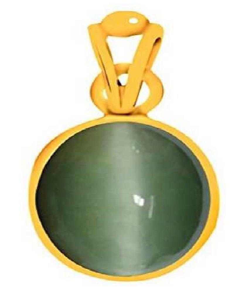 RATAN BAZAAR - Cats eye 6.5 carat Stone Pendant Natural Cats Eye stone Certified & Astrological purpose for men & women Gold Plated Cat's Eye Stone Pendant