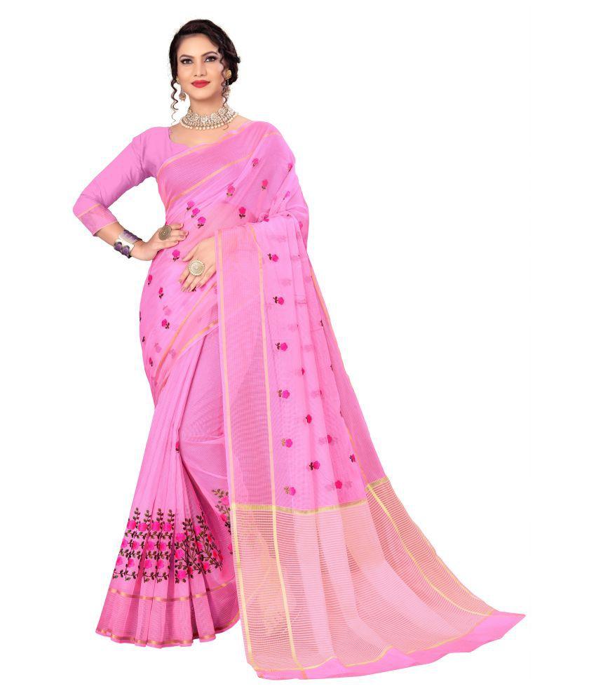 Viviki Fashion Pink Cotton Blend Saree