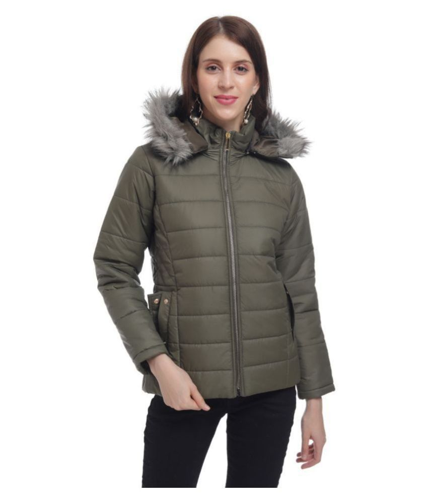 The Millions Club Cotton Blend Green Hooded Jackets