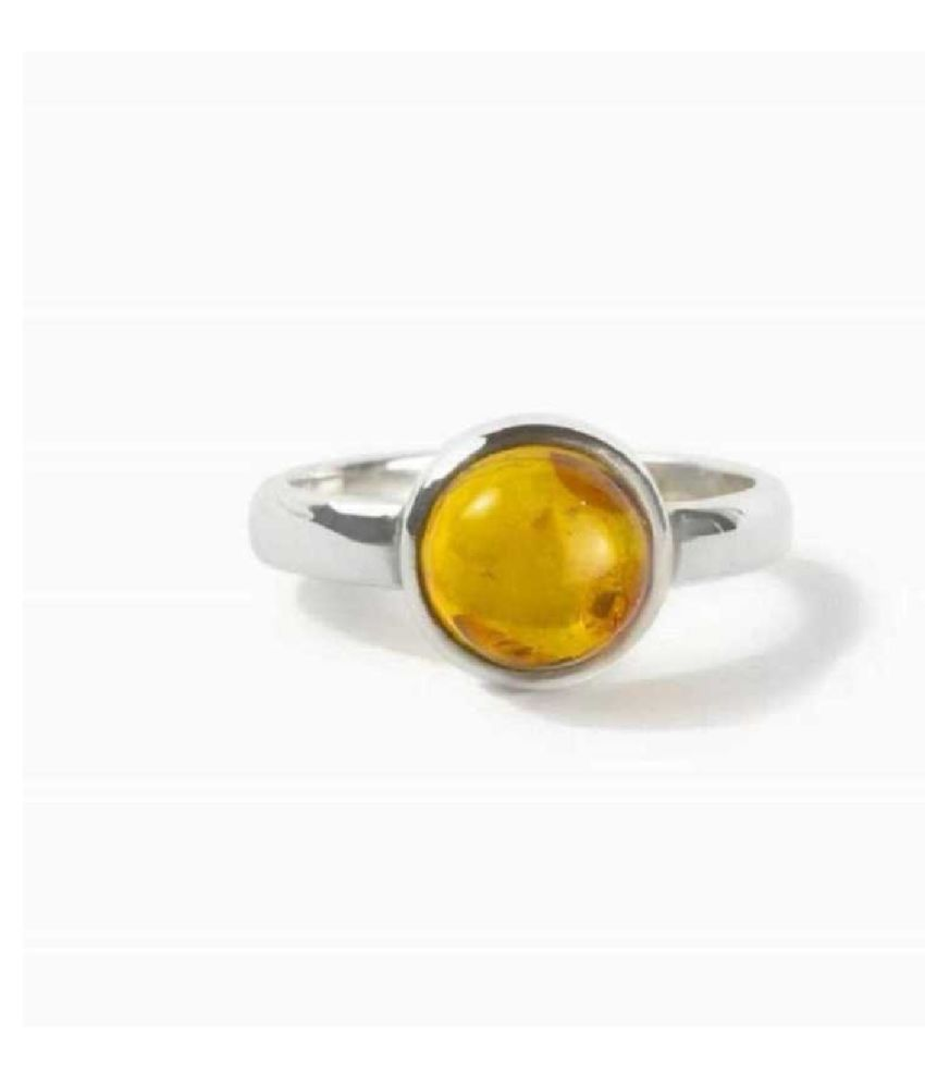 5.5 Ratti Lab Certified Stone 100% Original Amber Silver RING(Anguthi) for unisex by Ratan Bazaar\n