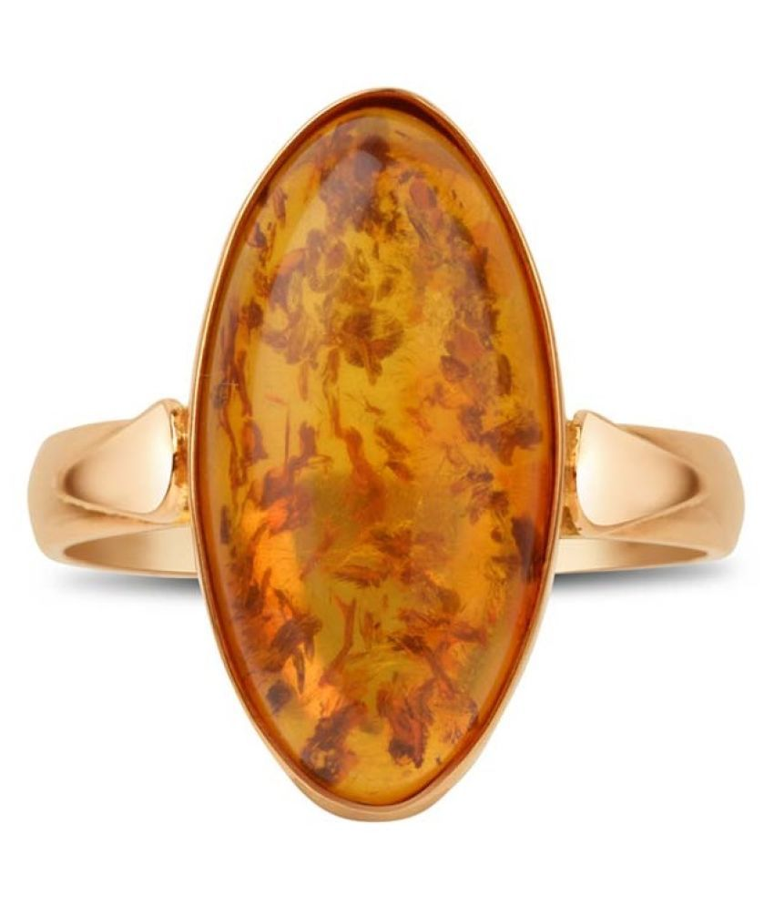 7.25 RATTI GOLD PLATED  Amber RING(Anguthi) by Ratan Bazaar\n