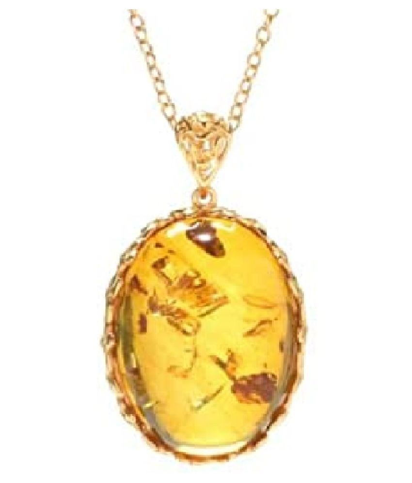 7.25 ratti Natural  Amber Stone Gold Plated Pendant for Astrological Purpose  Pendant by Ratan Bazaar
