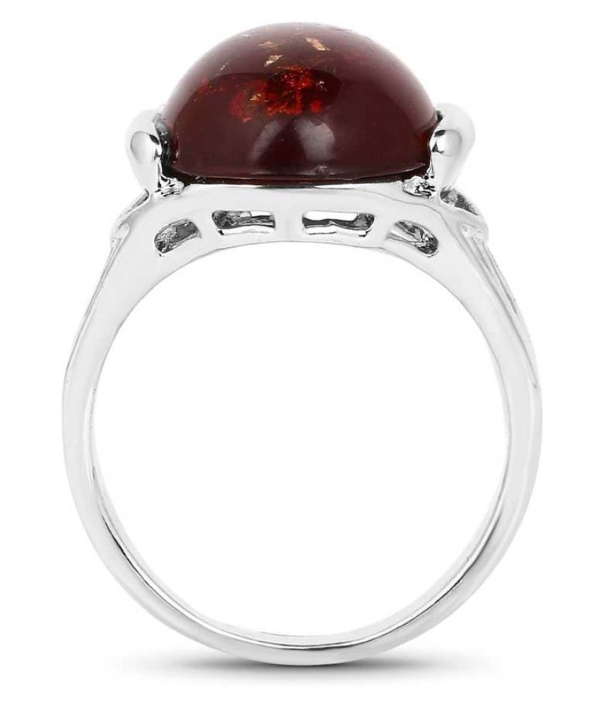 7.5 Ratti Amber RING(Anguthi) with Natural Silver Amber Stone by Ratan Bazaar