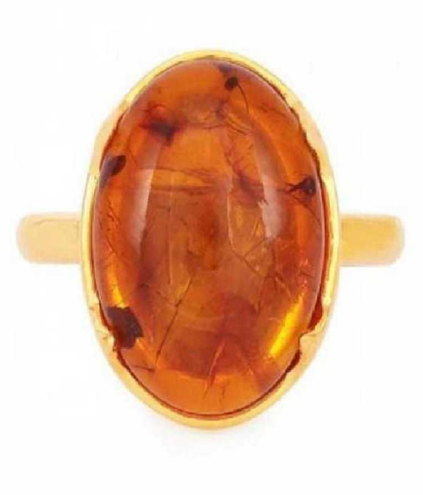 8.25 Carat Stone Amber GOLD PLATED RING(Anguthi) for unisex by Ratan Bazaar\n