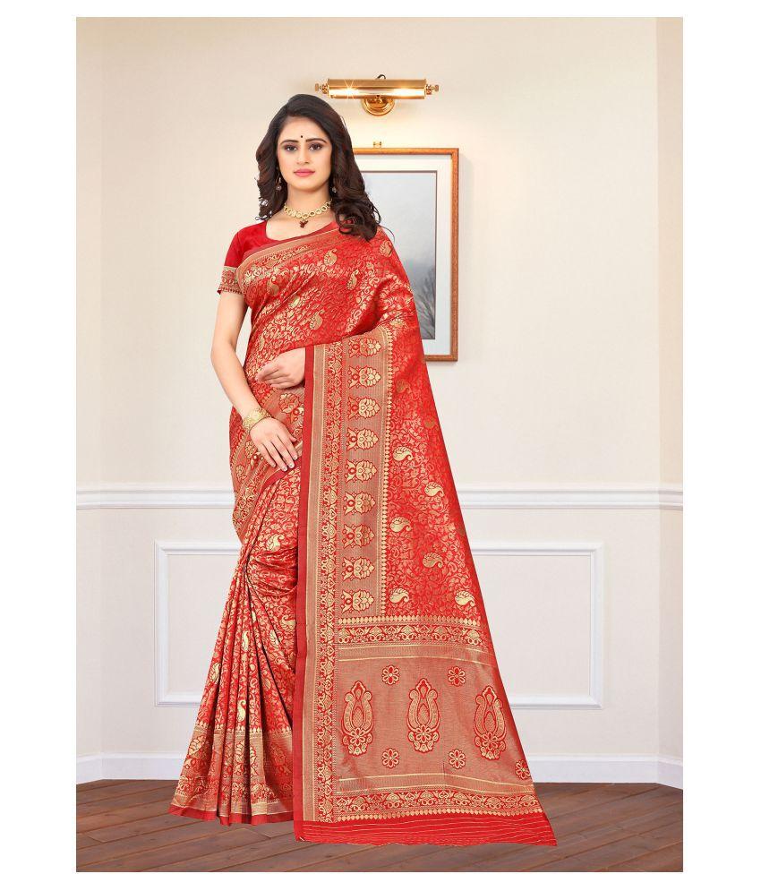 Bigben Textile Red Banarasi Silk Saree