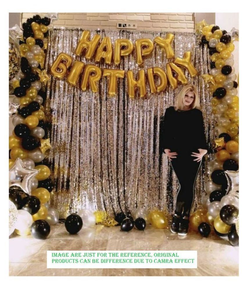 Buzz Happy Birthday Letter Foil Balloon Set of Gold + 2Pcs Silver Fringe Curtain (3 X 6 Feet) + Pack of 50 pcs Metallic Balloons(Black&Gold,Sliver) For Birthdays Parties