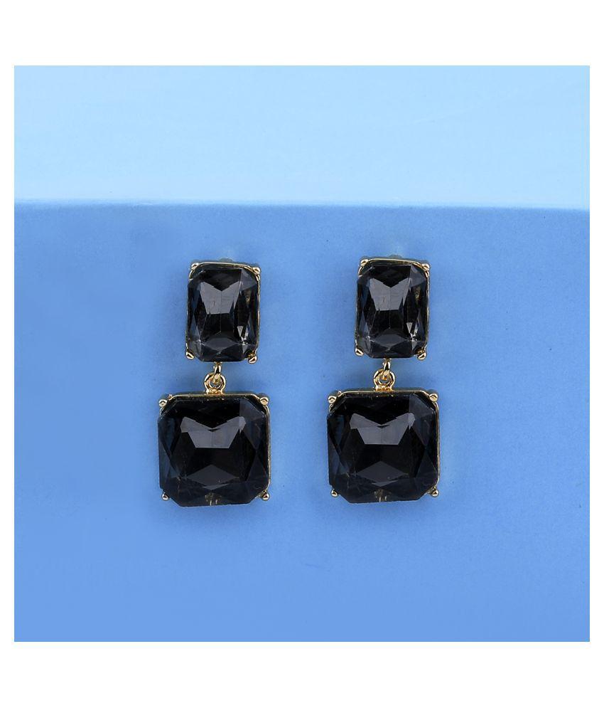 Gold Plated Stylish Designer Stone Dangle Earring For Women Girl