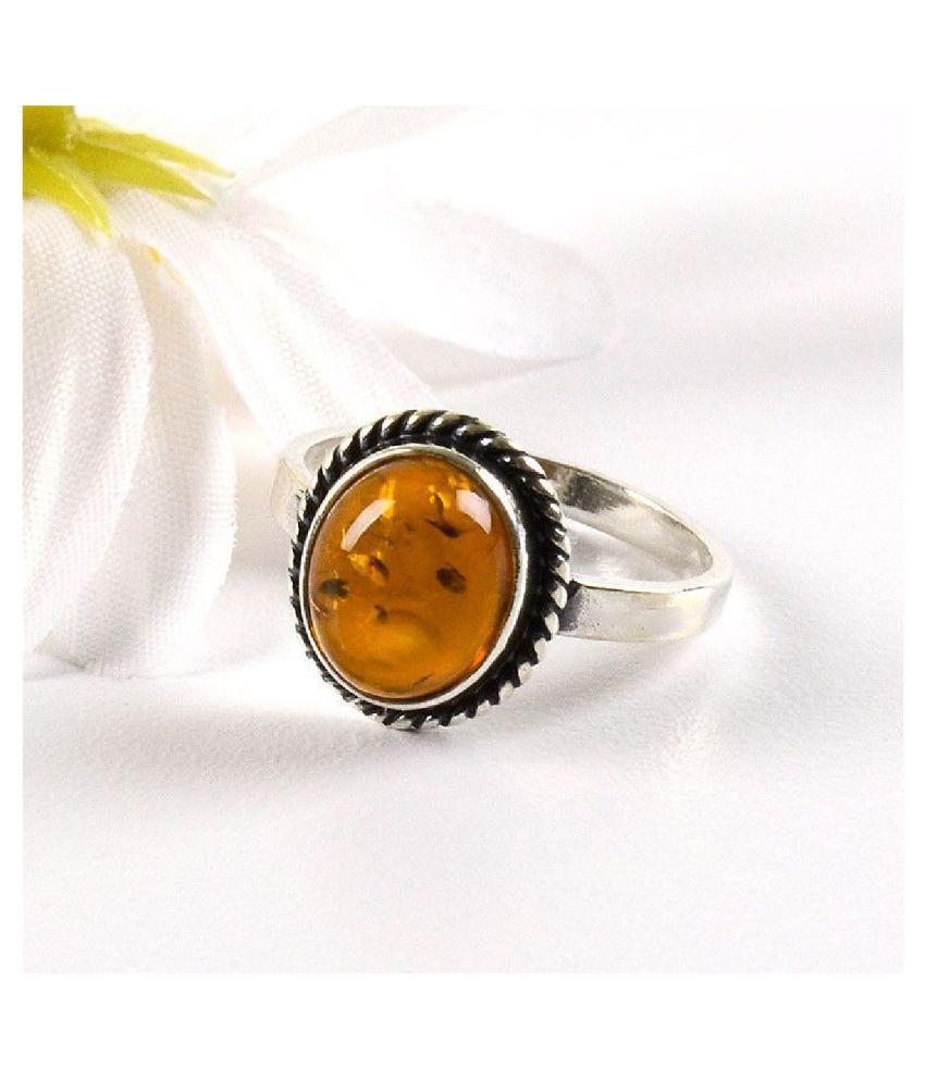 Natural Amber 7 Carat silver RING(Anguthi) by  Ratan Bazaar\n