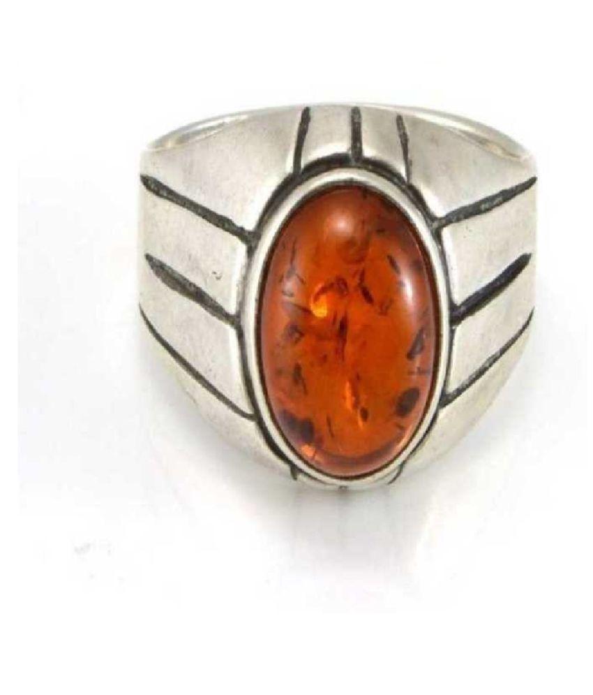 Natural Amber 8.5 Carat silver RING(Anguthi) by  Ratan Bazaar\n