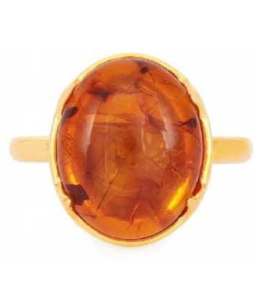 Natural Amber 9.25 Carat GOLD PLATED RING(Anguthi) by  Ratan Bazaar\n