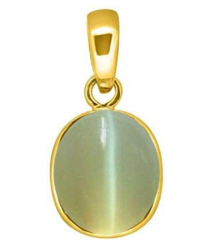 RATAN BAZAAR - Cats eye 7.5 carat Stone Pendant Natural Cats Eye stone Certified & Astrological purpose for men & women Gold-plated Cat's Eye Stone Pendant