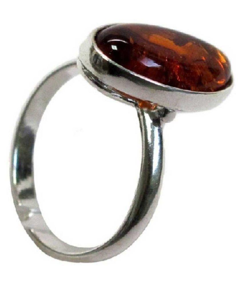 100% Original Amber Unheated & Natural Amber silver RING(Anguthi) by  KUNDLI GEMS