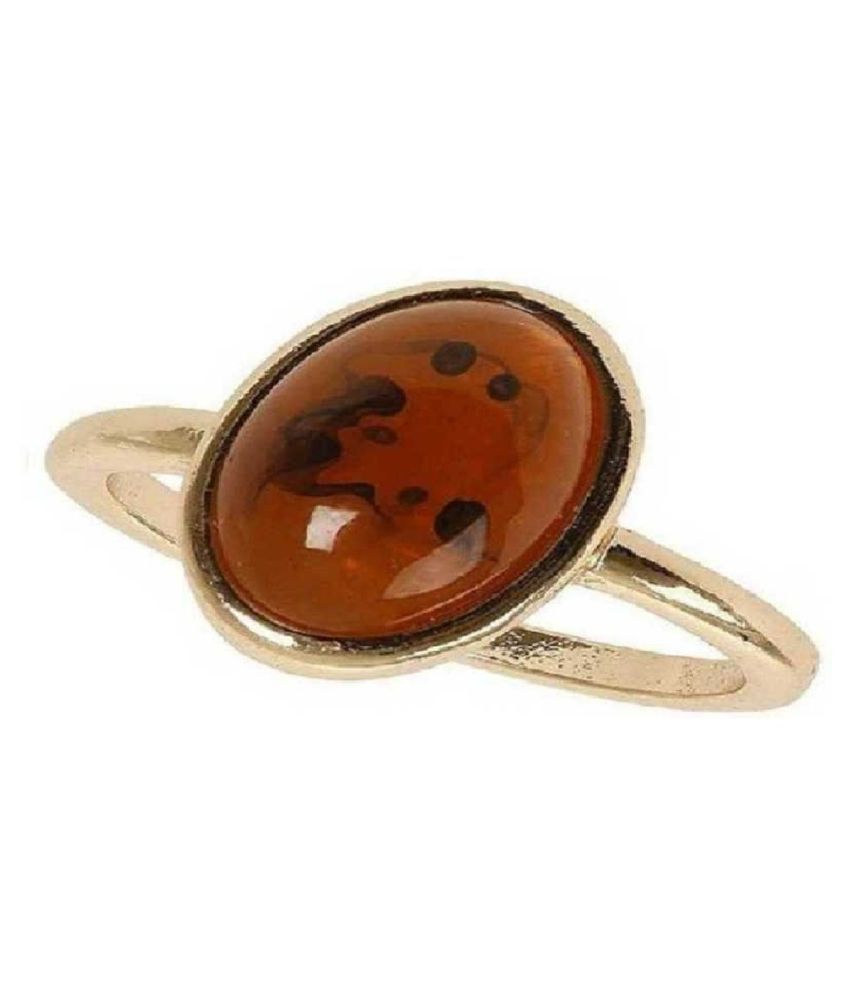 5 Ratti Gold Plated Original Amber RING(Anguthi)Lab Certified Stone by  KUNDLI GEMS\n