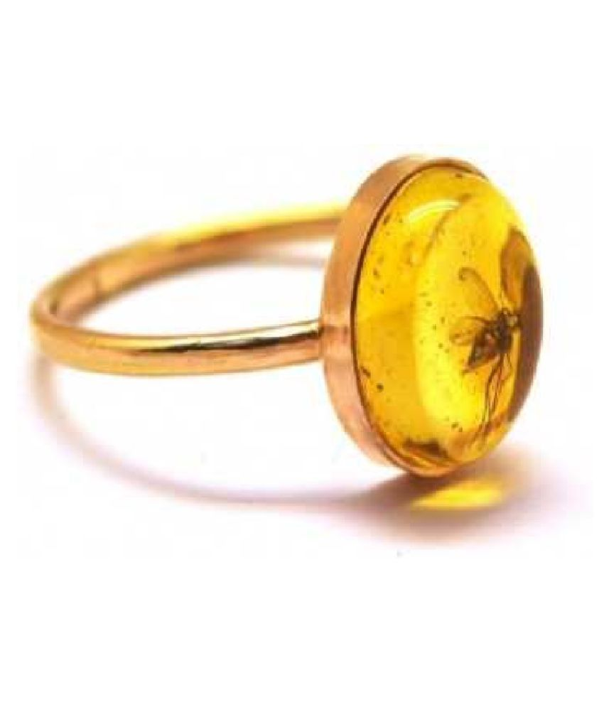 6.5 ratti Natural Amber Stone Unheated Lab Certified pure GOLD PLATED RING(Anguthi)by  KUNDLI GEMS\n