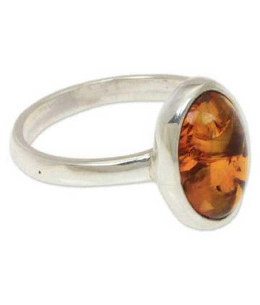7 Ratti  Silver Amber Stone RING(Anguthi)by   KUNDLI GEMS