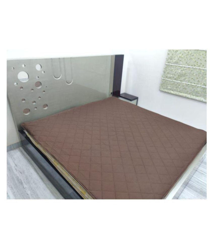 SHAKRIN Brown Cotton Mattress Protector