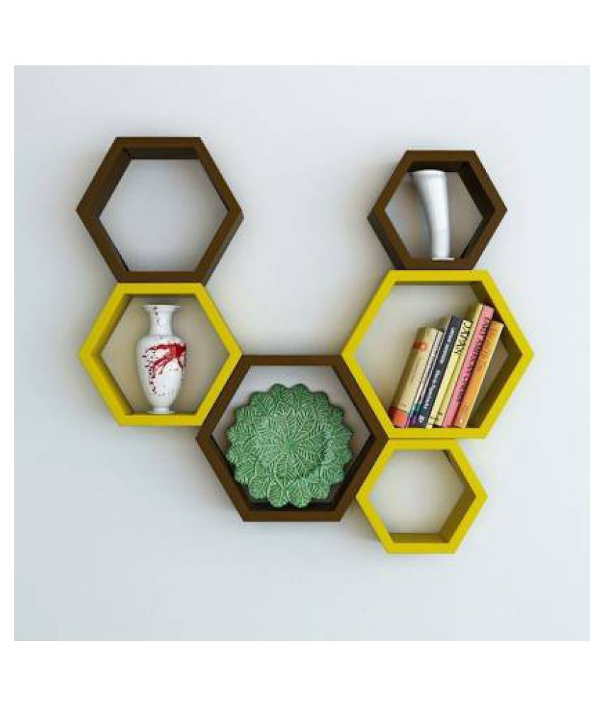 Surya Wood Art Wall Shelves for Living Room and Home Decor, Book Shelves Wooden Wall Shelf  (Number of Shelves - 6, Brown, Yellow)